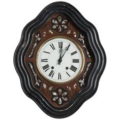 French Century Napoleon III Mother-of-Pearl Inlay Wall Clock Unusual Clocks, Antique Clocks, Vintage Clocks, Telling Time, Mid Century Modern Furniture, Antique Stores, Decorative Objects, White Porcelain, Furniture