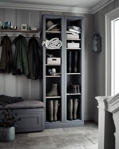 Grey boot room with open shelves, pegs for coats and a bench for perching on. Grey boot room with open shelves, pegs for coats and a bench for perching on.,~Interior~ Grey boot room with. Boot Room Utility, Utility Room Ideas, Utility Room Storage, Utility Shelves, Hallway Storage, Hall Storage Ideas, Storage Shelves, Cloakroom Storage, Cloakroom Ideas