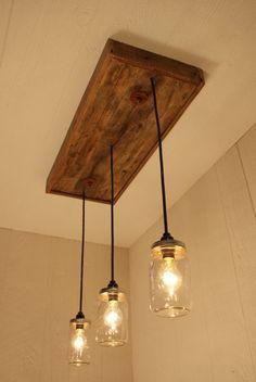 Mason Jar Chandelier Mason Jar lighting by Bornagainwoodworks YESSS to go over the ugly kitchen light