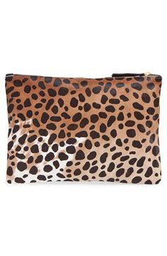Clare V. Genuine Calf Hair Leopard Print Zip Clutch | Nordstrom