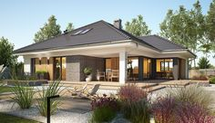 Bungalow House design with attic Miriam V, area with a spacious garage, with an envelope ro Bungalow House Plans, Dream House Plans, Modern Bungalow Exterior, Village House Design, Beautiful House Plans, Model House Plan, Facade House, Modern House Design, Home Fashion