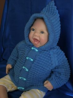 Knitted Baby Boy Hoodie to fit 03 month Baby by Meganknits4charity, £14.00