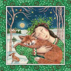 A beautiful Yule Card Celebrating the Fox & The Goddess by Artist Wendy Andrew, Ideal for you to send to your loved ones! Art And Illustration, Fantasy Kunst, Fantasy Art, Pagan Art, Art Sculpture, Fox Art, Winter Solstice, Whimsical Art, Yule
