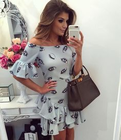 Eye Pattern Print Baby Blue Off Shoulder Dress Casual Dresses, Short Dresses, Casual Outfits, Fashion 2017, Fashion Outfits, Womens Fashion, Fashion Essay, Fashion Silhouette, Western Outfits