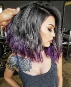 """11.1k Likes, 81 Comments - Hair Makeup Nails Blogger  (@hotonbeauty) on Instagram: """" Sexy, dark lob, charcoal silver melt and purple ombré  by @bescene #hotonbeauty"""""""