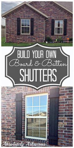 Luiken buiten / shutters Absolutely Arkansas: DIY Board & Batten Shutters-Look for Less! Diy Shutters, Window Shutters, Outdoor Shutters, House Shutters, Black Shutters, Outdoor Projects, Home Projects, Outdoor Decor, Outdoor Living