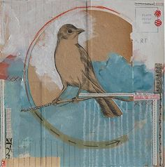 mixed media birds.