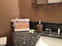 DIY bathroom decor. Printed out the hello and framed it, added lace. Also, twine covered can I put a bottle of hand soap inside. I wanted a pop of happy yellow!