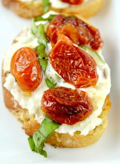 Honey Roasted Tomato Bruschetta. (July 20/14)  Delicious, but will use only goat cheese next time.  The mascarpone mixed was just too sweet.