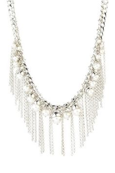 Silver Capped Faux Pearl Fringe Necklace