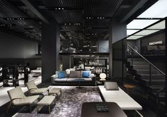 Lighting Showroom, Contemporary Home Decor, Architectural Digest, Ceiling Design, Lighting Design, Retro Lighting, Living Spaces, Living Room, Interior Design