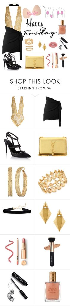"""Brassybra Friday night"" by brassybra ❤ liked on Polyvore featuring Coco de Mer, Yves Saint Laurent, Valentino, GUESS, INC International Concepts, Stephanie Kantis, Bobbi Brown Cosmetics and Estée Lauder"