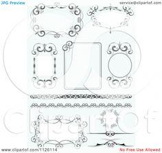 Clip art Of Ornate Wedding Frames On Blue Royalty Free Vector Illustration