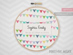 BABY BUNTING ANNOUNCEMENT counted cross stitch pattern girl shower sampler modern nursery decor easy personalized birth record xstitch pdf