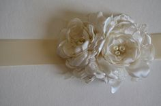 Pure Cream - Vintage Style, Flowered Bridal Sash in Cream White Satin and Lace For the MOH or flowergirl? Lace Flowers, Fabric Flowers, Hair Brained, Bridal Sash, Wedding Garter, Fabric Jewelry, Sashimi, Handmade Flowers, Vintage Fashion