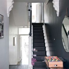 The Best Paint Colors: 10 Farrow & Ball Not-Boring Neutrals - stairs Farrow Ball, Farrow And Ball Paint, Black And White Hallway, Black Stairs, Black White, Dark Blue Hallway, House Staircase, Staircase Design, Dark Staircase