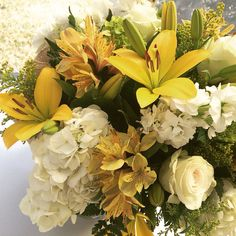 Yellow Asiatic Lilies, Roses and Hydrangea Bouquet