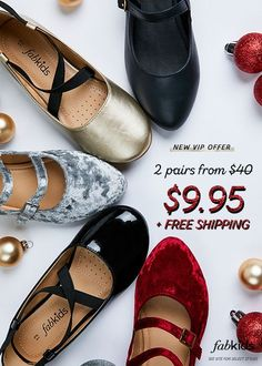 Shop the Best Kid's Styles this Holiday Season at FabKids! New VIP Offer: Buy 2 Pairs of Childrens Shoes for Only $9.95 + FREE SHIPPING! Your One Stop Shop For Kid's Stylish Clothing. Offer Available for a Limited Time.