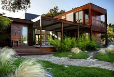 Creative Ideas, Foxy Shipping Container Conversions In Contemporary Landscape With Wooden Stairs Wooden Wall In Two Story House And Glass Windows: Mesmerizing Shipping Container Conversions For Country House Shipping Container Home Designs, Container House Design, Shipping Containers, Shipping Crates, Contemporary Landscape, Landscape Design, Garden Design, Contemporary Design, Modern Design