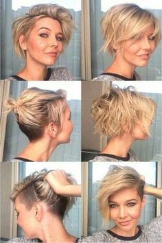 Blonde short side pixie cut