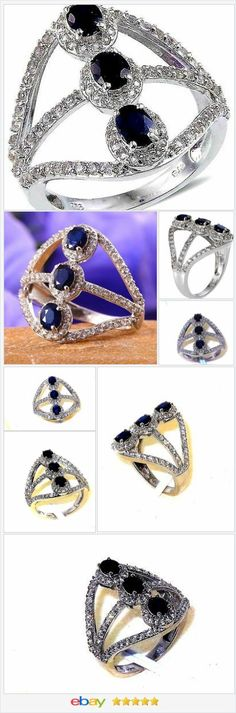 Blue Sapphire 3 stone North South Ring 3.00 carats size 8 USA SELLER  | eBay  50% OFF #EBAY http://stores.ebay.com/JEWELRY-AND-GIFTS-BY-ALICE-AND-ANN
