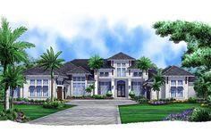 European Style House Plan - 4 Beds 4.75 Baths 5377 Sq/Ft Plan #27-455 Exterior - Front Elevation - Houseplans.com