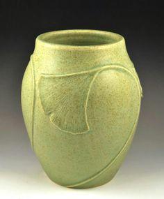"Jacquie Walton - JW Art Pottery - Gingko Swirl Vase -  6.5"""