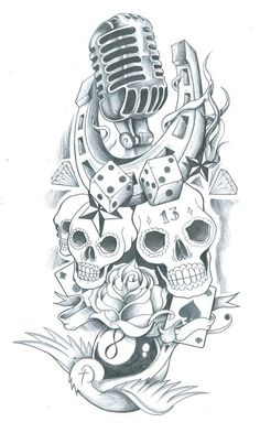 Horseshoe With Skulls And Microphone Tattoo Design