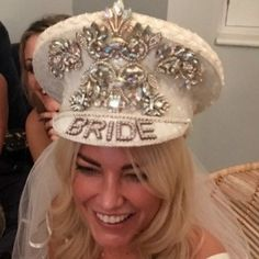 Happy bride to be, wearing her custom hat. Perfect accessory for hen party and bachelorett party Hen Do Outfits, Party Tattoos, Bridal Hat, Hen Party Accessories, Bachlorette Party, Diy Bralette, Hen Ideas, Bridesmaid, Happy