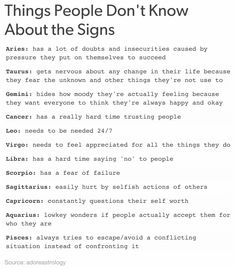 Things People Don't Know About the Signs