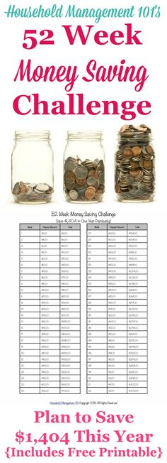 52 Week Money Challenge: Save For A Better Year! I'm taking Household Management 52 We 52 Week Money Challenge, Savings Challenge, Savings Plan, Ways To Save Money, Money Saving Tips, Money Hacks, Money Savers, Dave Ramsey, Show Me The Money
