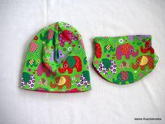Mützen - Beanie + Halssocke, KU 44 - 48, Elefanten, Blumen - ein Designerstück von kleine_Kuschelrobbe bei DaWanda