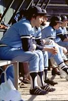 #lookingback Members of the 1978 Cougars Baseball team wait eagerly for their turn to bat.