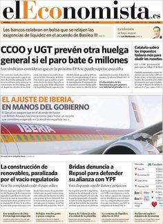 Titulares y Portada del 8 de Enero de 2013 del Periodico El Economista ¿Que te parecio este día?