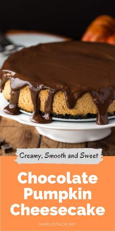 Prepared with a chocolate cookie crumb crust and a creamy, smooth pumpkin cheesecake filling. Topped off with a thick chocolate ganache, this is one scrumptious cheesecake. It tastes even better than it looks!
