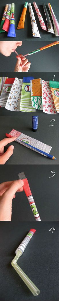 Craft for Boys - Paper Rocket - with bendy straws!! Click image for full instructions.