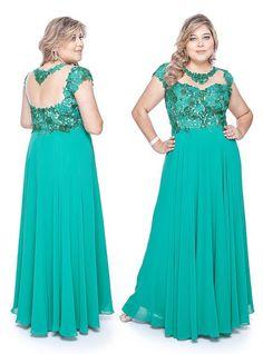 Vestidos Para Festa Plus Size Cor Verde ou Azul Turquesa 9