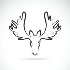Design Sign Moose Head Trophy Animal Wall Art by Tes Ted Tattoo Outline, Outline Drawings, Animal Drawings, Owl Vector, Vector Art, Moose Deer, Moose Art, Moose Tattoo, Moose Pictures