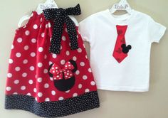 Brother and Sister  Minnie & Mickey Mouse pillowcase dress and shirt/onesie