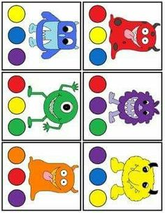 shape monster color match preschool color activitiesmonster - Colour Games For Preschool
