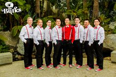 Groom + Groomsman wedding attire ideas. Love the red!
