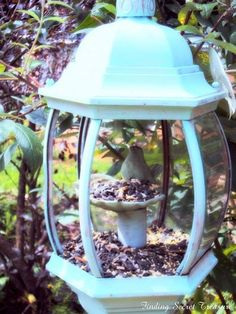 The Best Bird Feeders and DIY Bird Bath Upcycling Ideas and Projects Garden Crafts, Garden Projects, Garden Ideas, Diy Bird Feeder, Bird House Feeder, Teacup Bird Feeders, Garden Bird Feeders, Old Lights, Backyard Birds