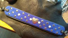 "Martingale dog collar. 14-16"" neck.  Details. Royal blue suede backed by black glove soft Laura's Leather Studio leather"