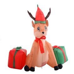 4Ft Airblown Inflatable Christmas Xmas Reindeer Gift Box Decor Lawn Yard Outdoor