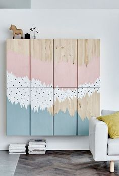 Chic ikea hacks to update your cheap furniture. Ikea hacks to take your bland furniture to chic. These 12 fashionista-approved DIY hacks will help you update your decor and make your Ikea purchases unique. For more DIY project ideas go to Domino. Big Blank Wall, Blank Walls, Ikea Pinterest, Ivar Regal, Ikea Ivar Cabinet, Armoire Ikea, Ikea Dresser, Diy Casa, Best Ikea