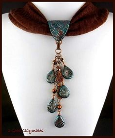 I love things to wear that are multi-functional and interchangeable. An item that can be used in more than one way is a great wardrobe exte. Polymer Beads, Polymer Clay Necklace, Polymer Clay Pendant, Polymer Clay Crafts, Scarf Necklace, Scarf Jewelry, Fabric Jewelry, Tassel Necklace, Jewlery