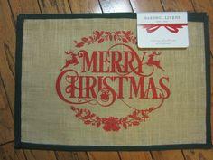 "NWT $40 BARDWIL LINENS BURLAP PLACEMATS X4 MERRY CHRISTMAS RUSTIC JUTE 13"" X 19"" #BARDWILLINENS"