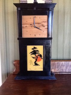 Mantle Clock with painted glass