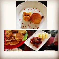 A simple breakfast for my loves! Mr. Piggy pancake with fruits on the side :)