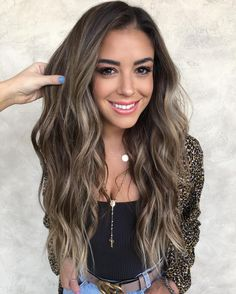 Long Wavy Ash-Brown Balayage - 20 Light Brown Hair Color Ideas for Your New Look - The Trending Hairstyle Ombre Blond, Brown Ombre Hair, Brown Hair Balayage, Brown Hair With Highlights, Brown Blonde Hair, Ombre Hair Color, Brown Hair Colors, Brunette Hair, Cool Tone Brown Hair